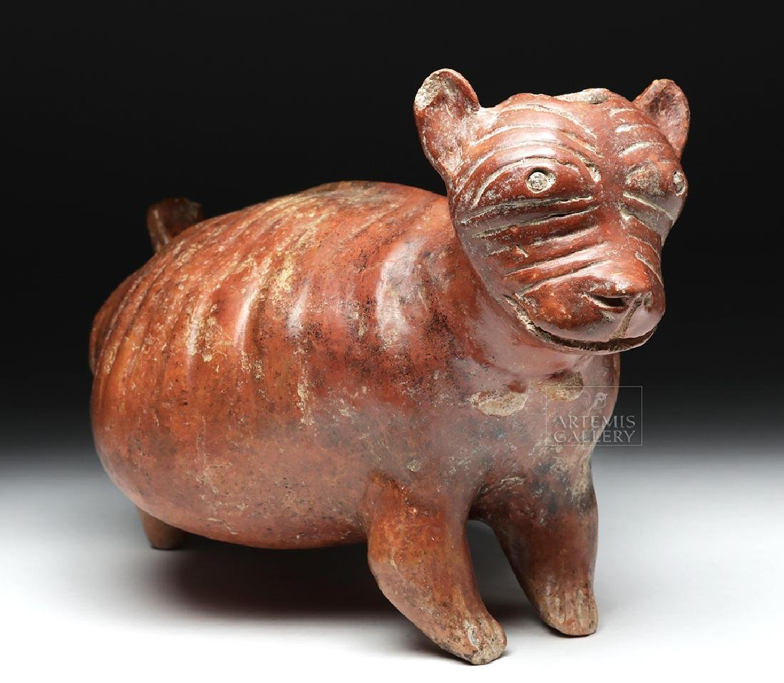Nayarit Chinesco Pottery Redware Emaciated Dog Vessel - 2