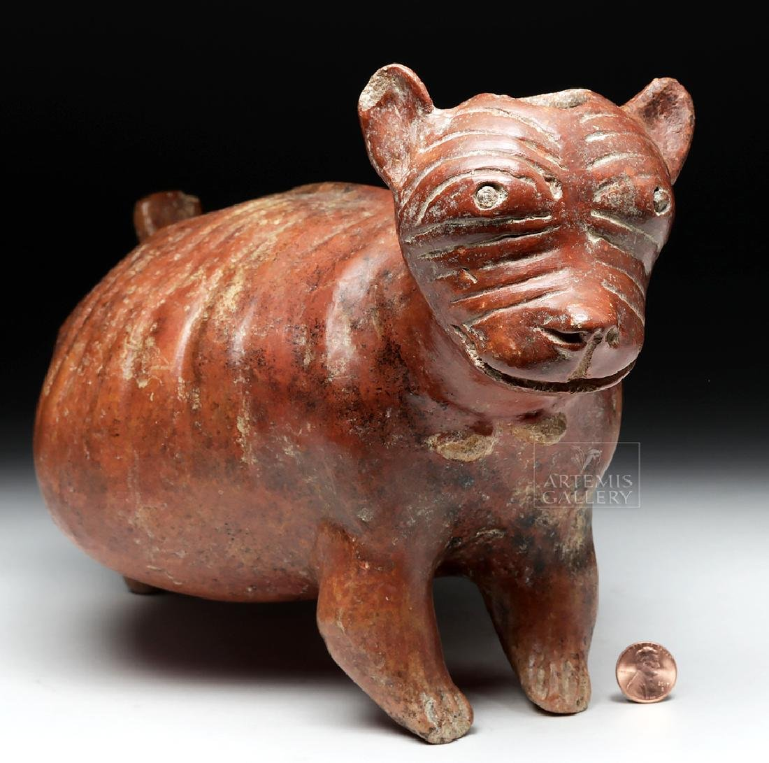 Nayarit Chinesco Pottery Redware Emaciated Dog Vessel - 8