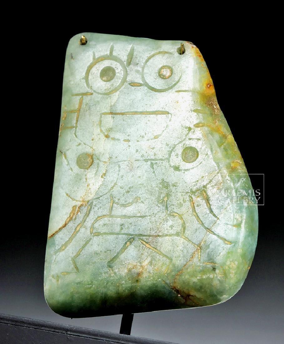 Maya Green Jadeite Pendant of Owl