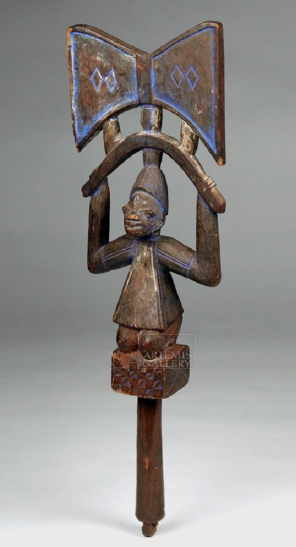 20th C. Yoruba Wooden Shango w/ Blue Pigment