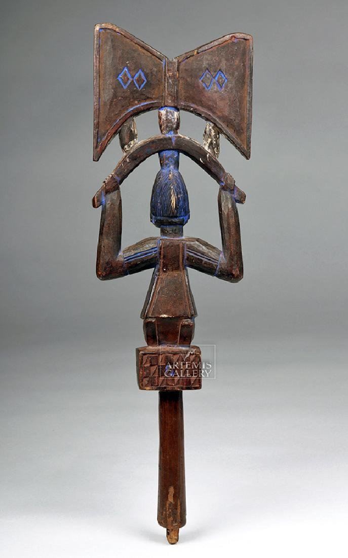 20th C. Yoruba Wooden Shango w/ Blue Pigment - 4
