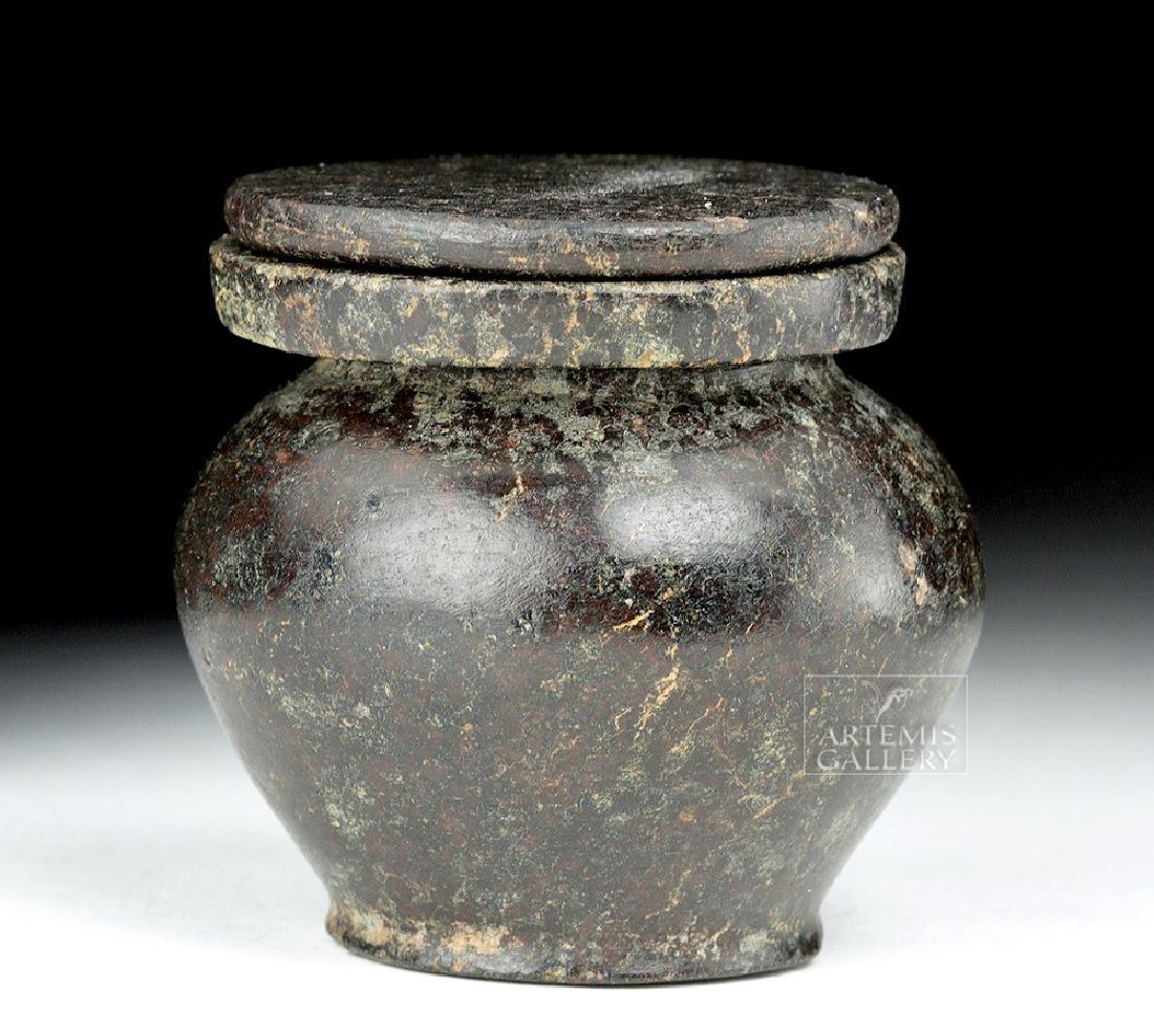 Egyptian Middle Kingdom Granodiorite Kohl Jar w/ Lid - 2
