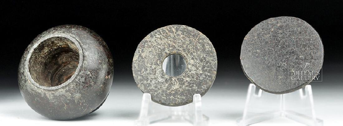 Egyptian Middle Kingdom Granodiorite Kohl Jar w/ Lid - 6