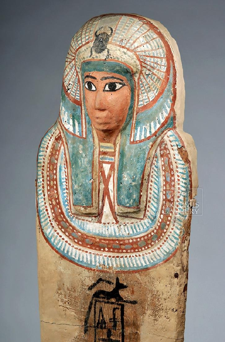 Egyptian 3rd Intermediate Period Wood Sarcophagus Cover - 7
