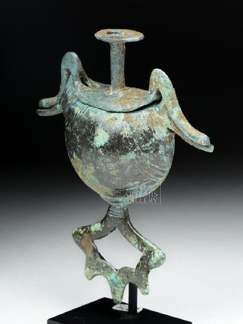 Geometric Bronze Pendant Pyxis - Sickle Type w/ Birds - 2