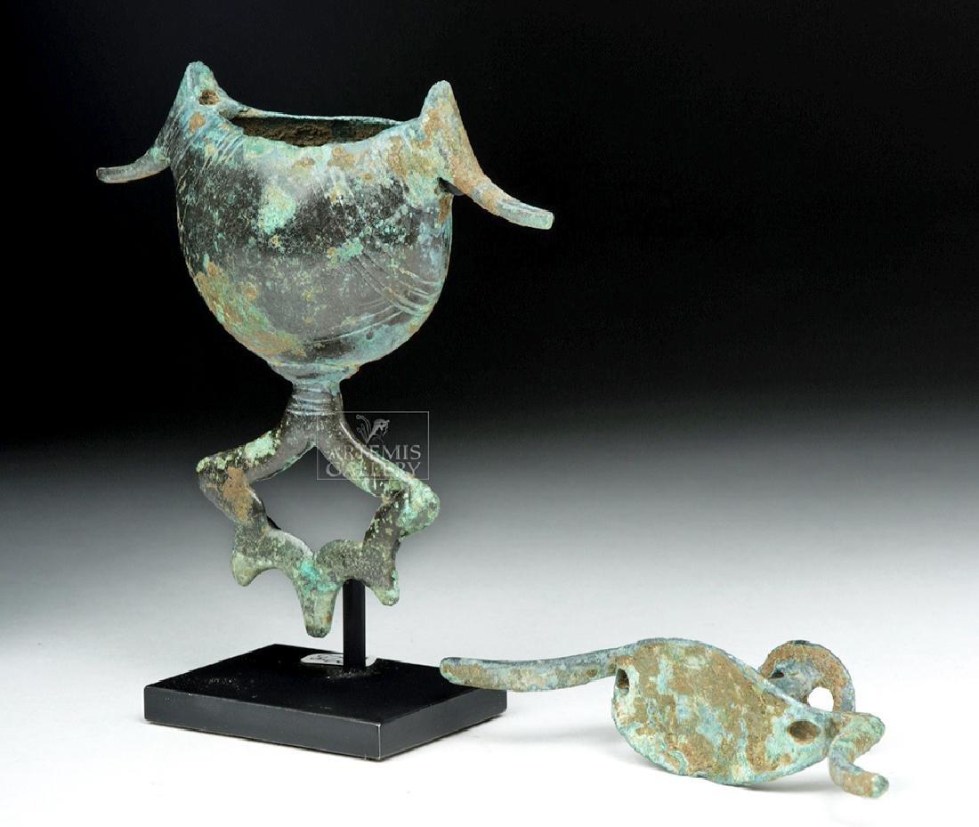 Geometric Bronze Pendant Pyxis - Sickle Type w/ Birds - 6