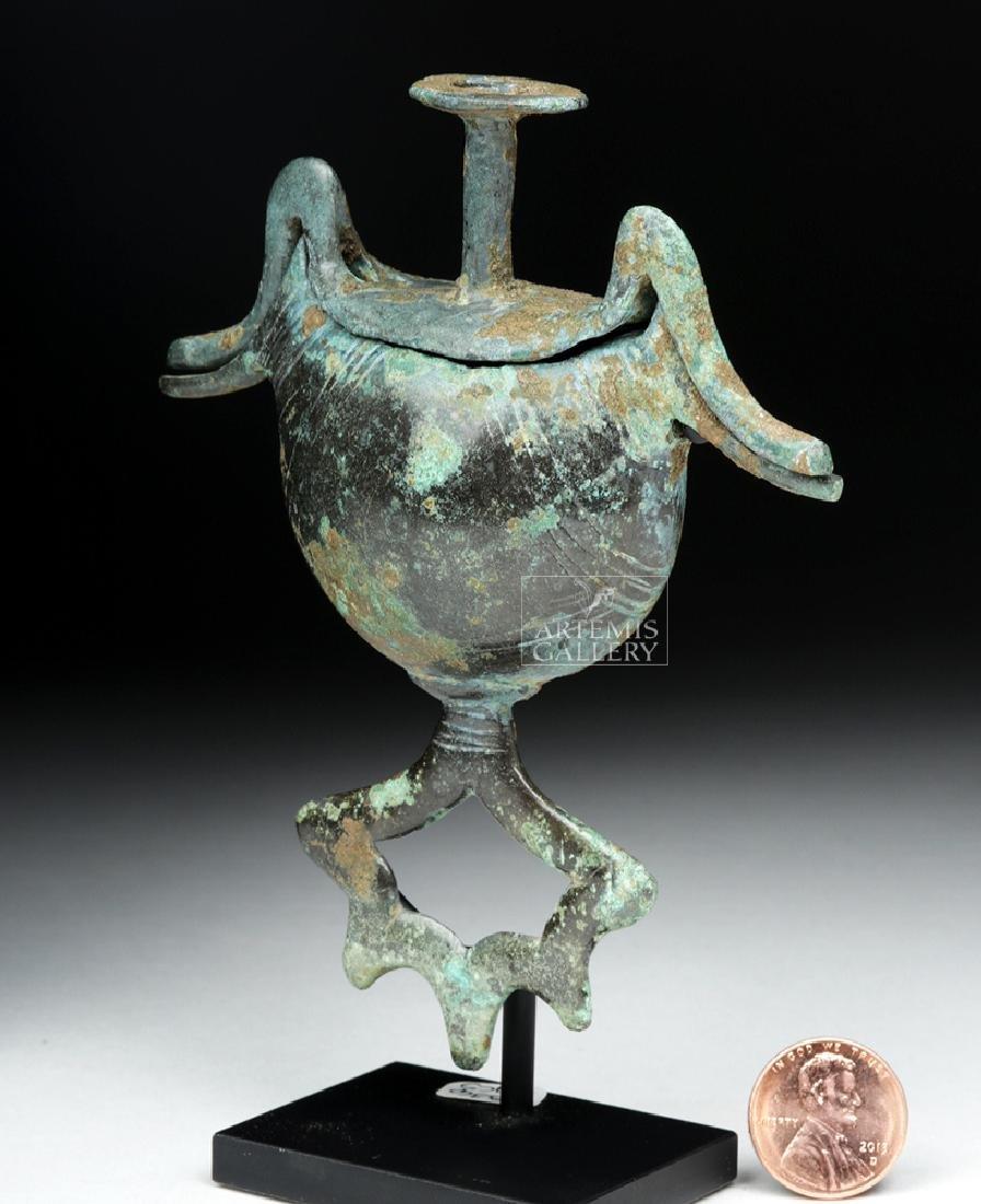 Geometric Bronze Pendant Pyxis - Sickle Type w/ Birds - 7