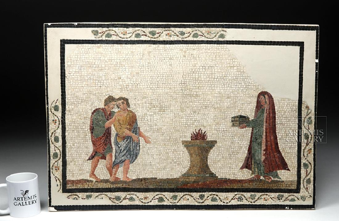 Roman Mosaic - Priestess Making Offering - 8