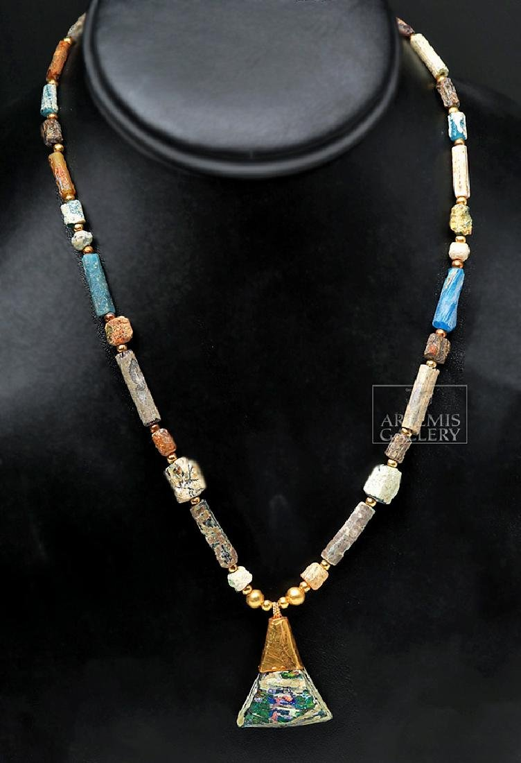 Gorgeous Roman Glass / Gold Necklace