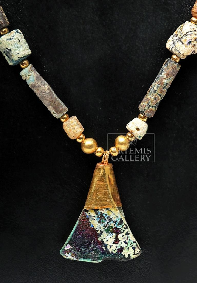 Gorgeous Roman Glass / Gold Necklace - 4