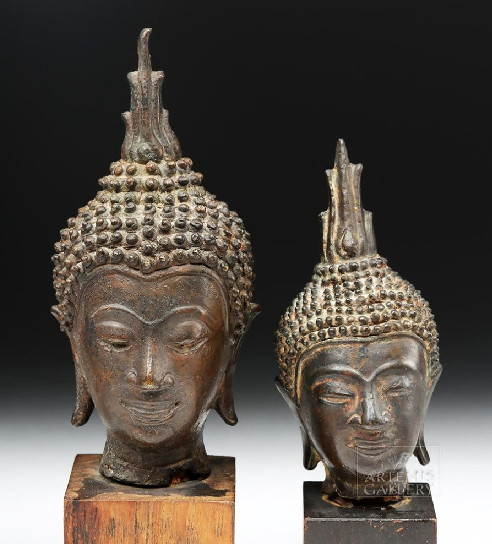 Pair of Thai Bronze Buddha Heads