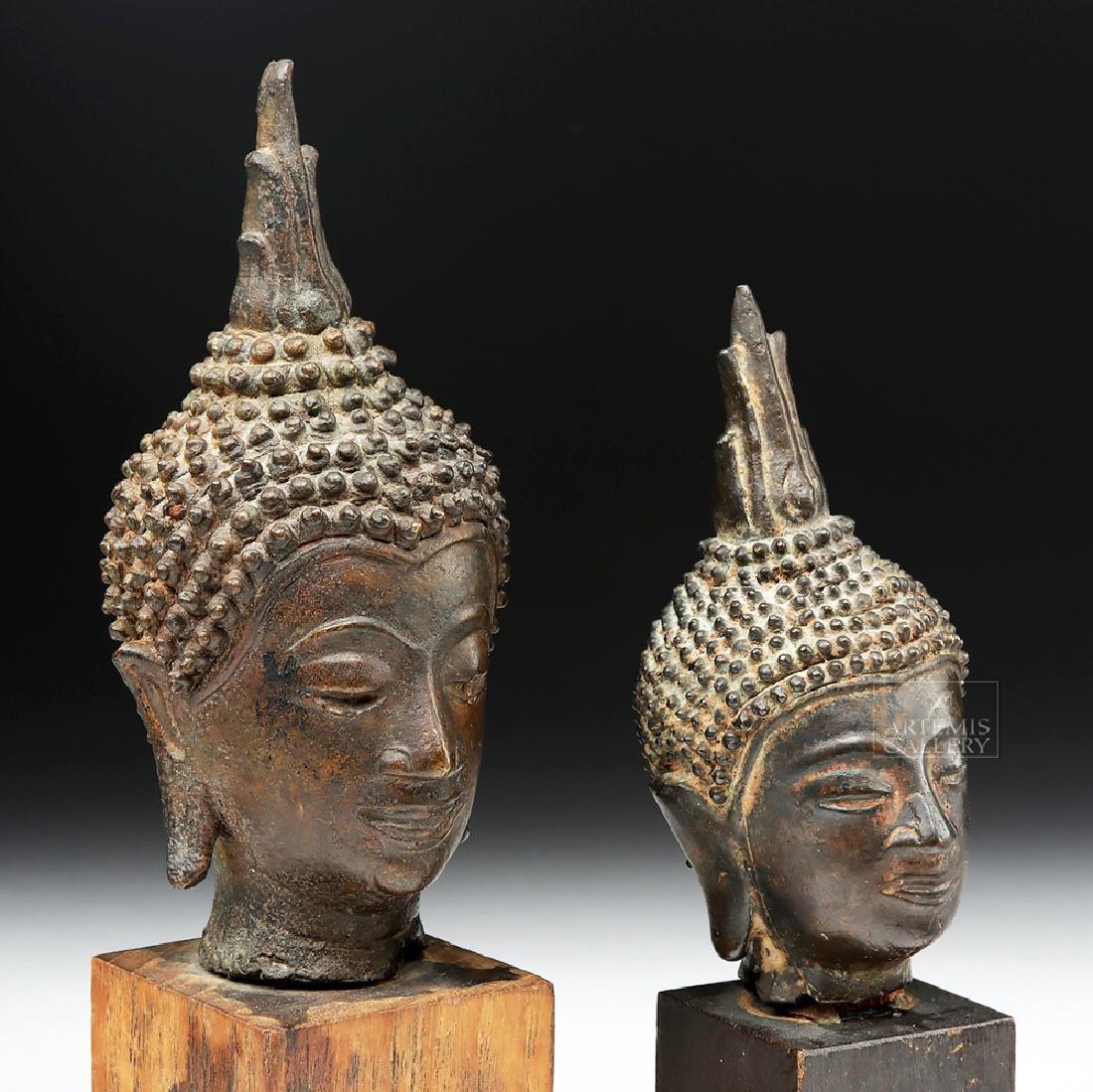 Pair of Thai Bronze Buddha Heads - 2