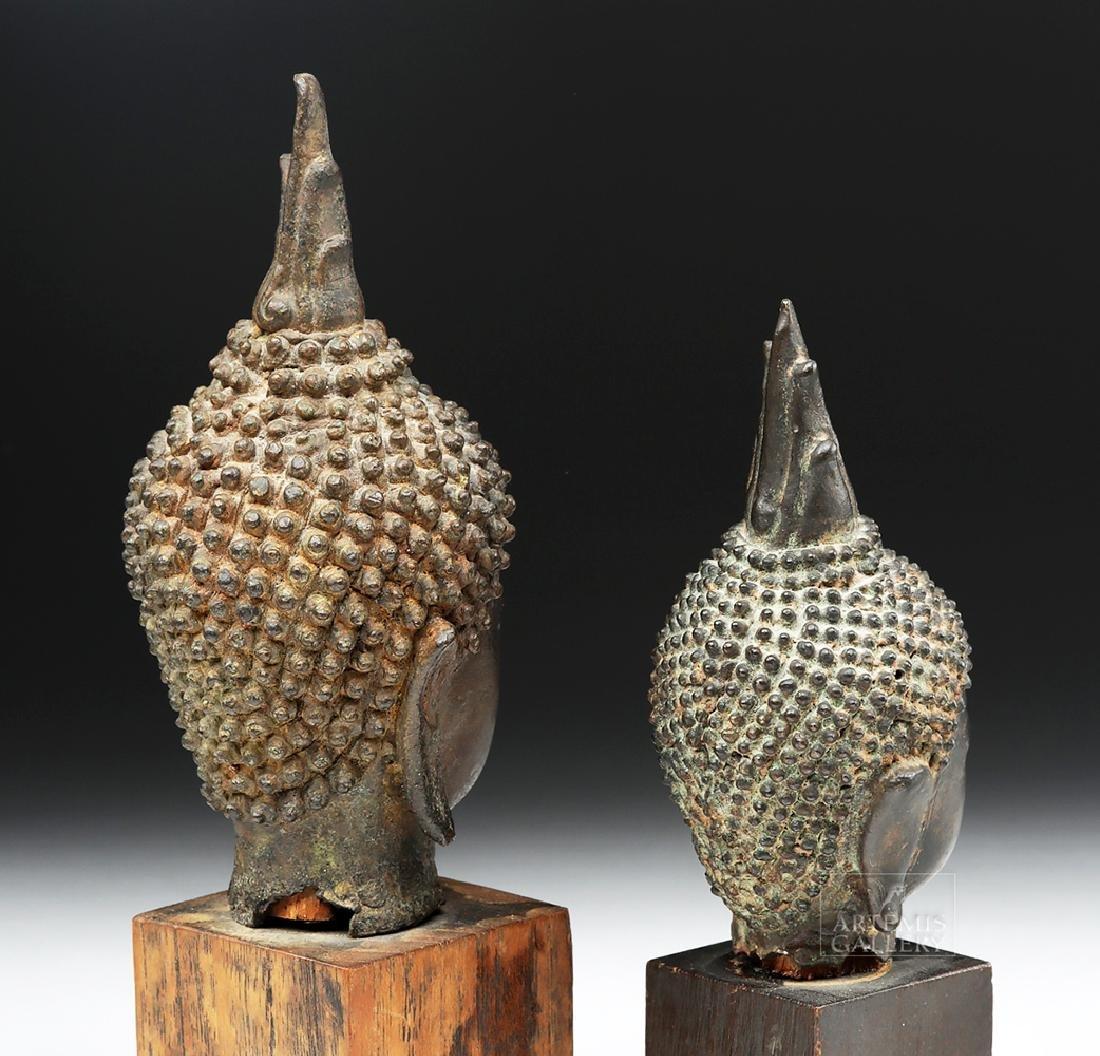 Pair of Thai Bronze Buddha Heads - 3