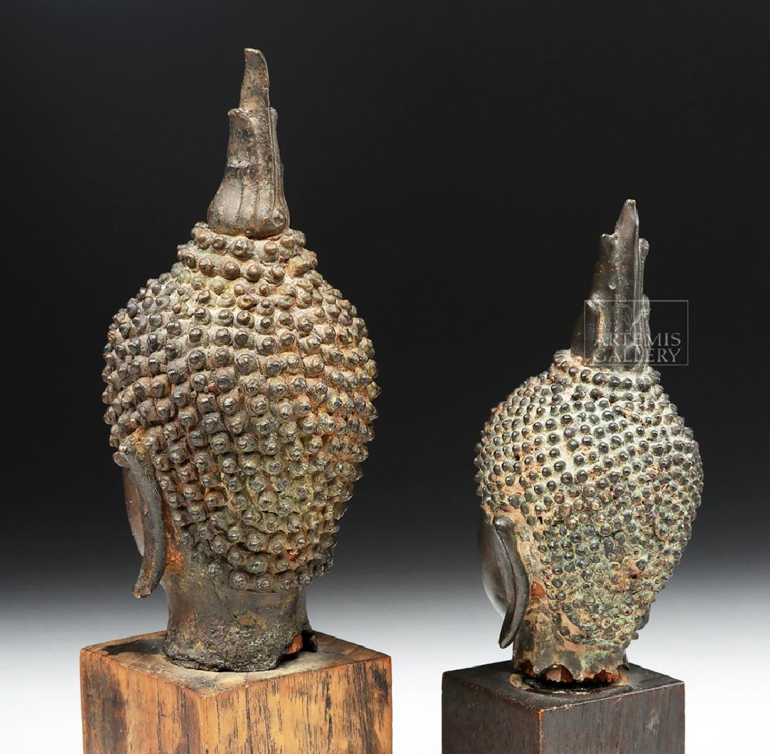 Pair of Thai Bronze Buddha Heads - 4