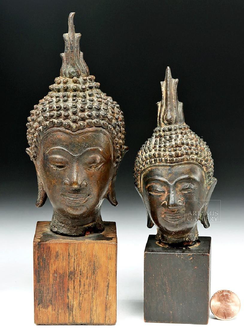 Pair of Thai Bronze Buddha Heads - 5