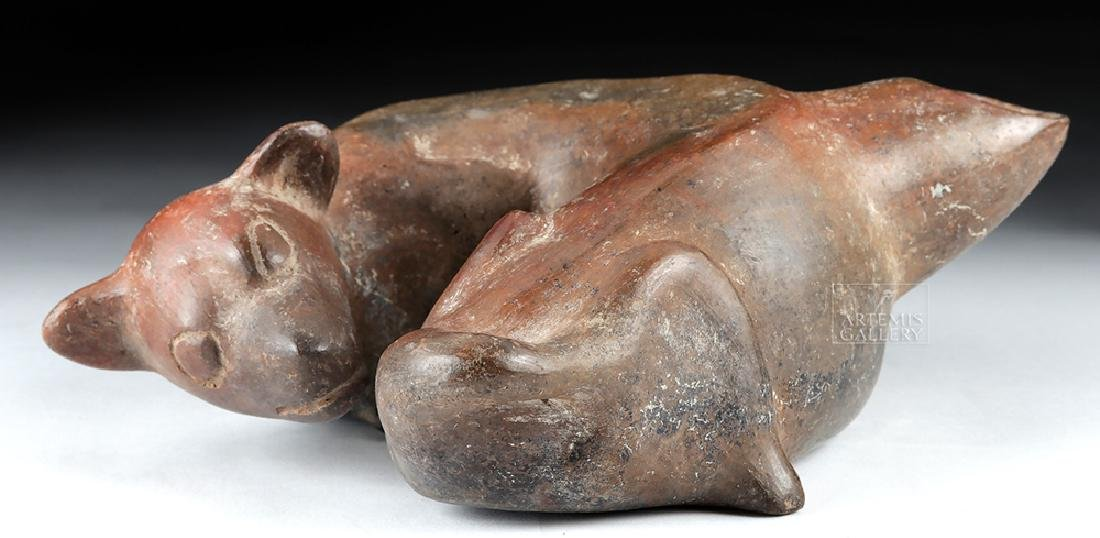Colima Pottery Redware Curled Dog Vessel - 3