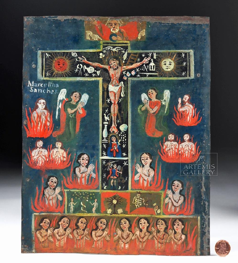 19th C. Mexican Painted Tin Retablo, La Cruz de Animas