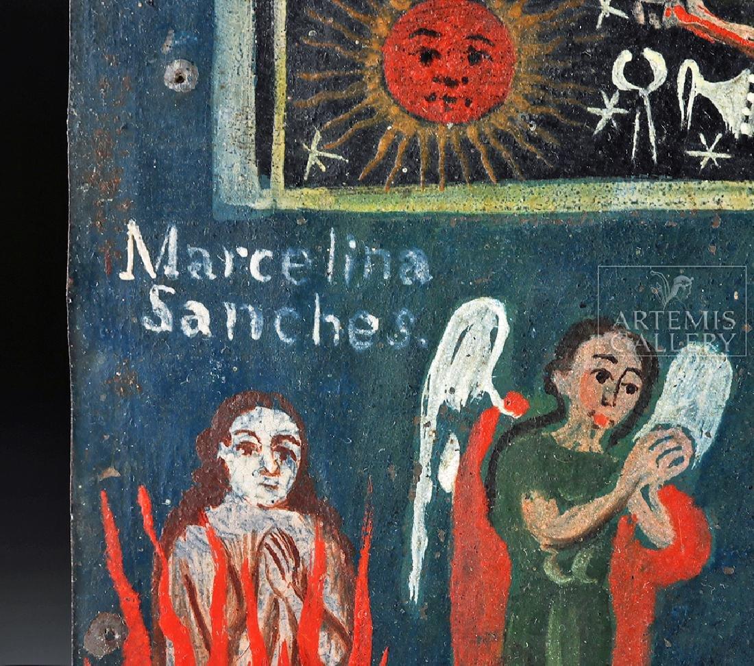 19th C. Mexican Painted Tin Retablo, La Cruz de Animas - 3