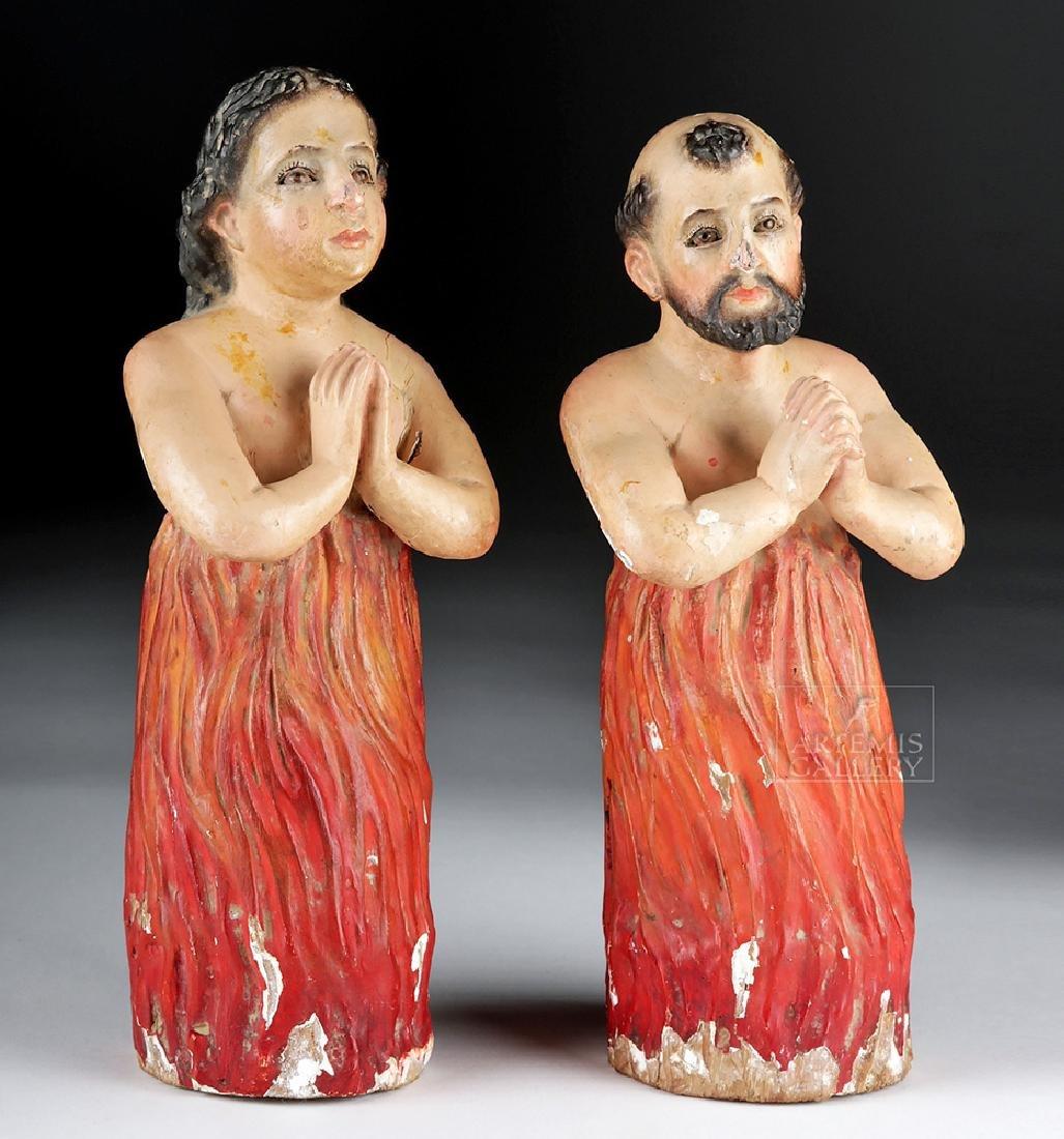 Pair of 19th C. Mexican Wood Animas Solas w/ Glass Eyes