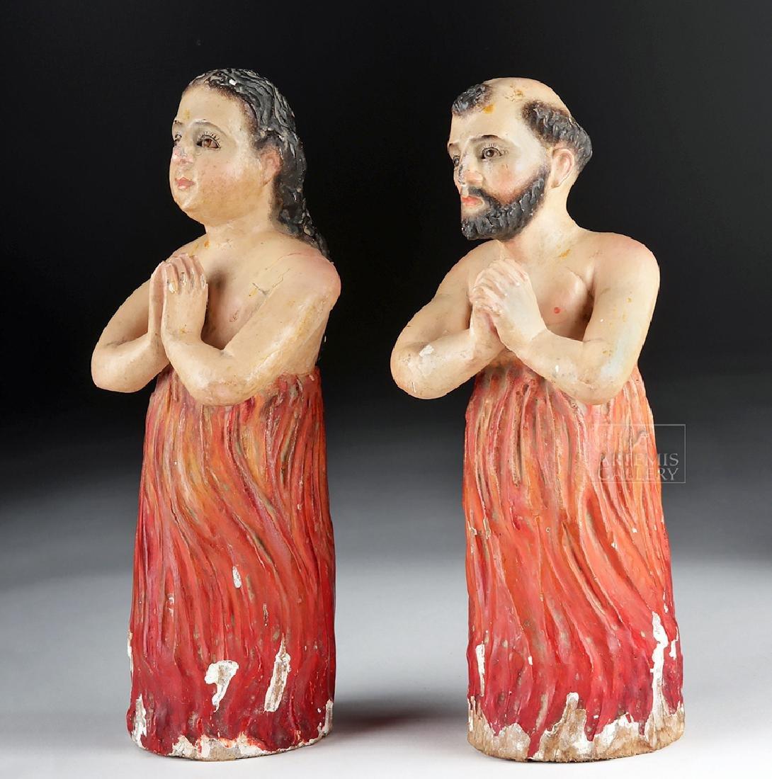 Pair of 19th C. Mexican Wood Animas Solas w/ Glass Eyes - 2