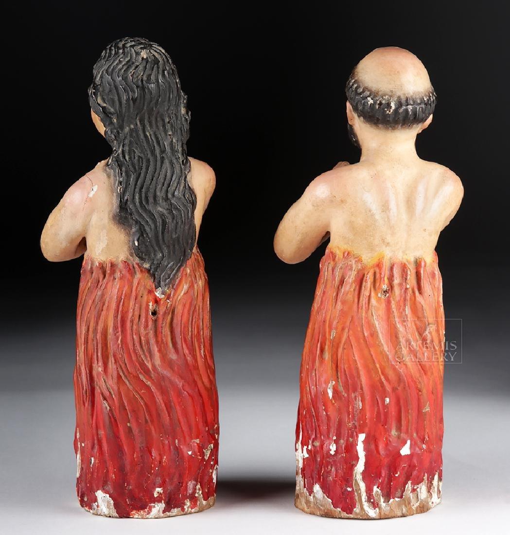 Pair of 19th C. Mexican Wood Animas Solas w/ Glass Eyes - 3