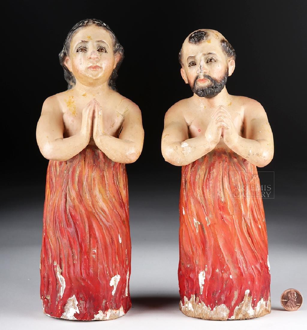 Pair of 19th C. Mexican Wood Animas Solas w/ Glass Eyes - 5
