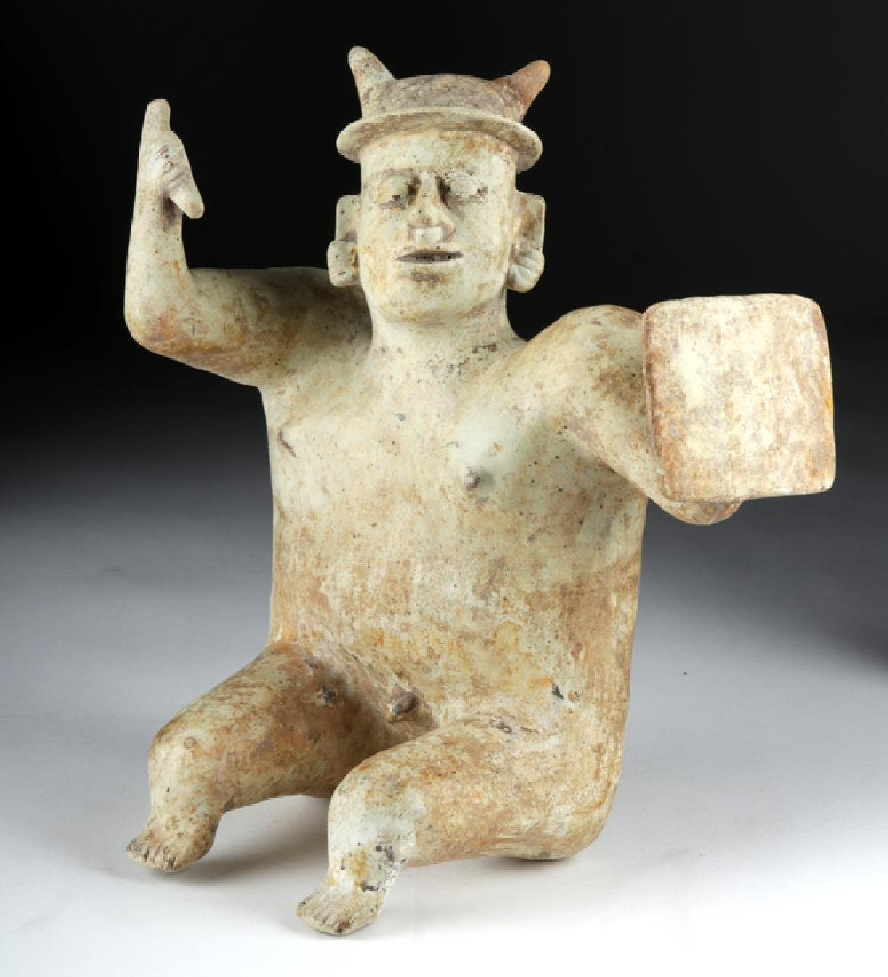 Jalisco Pottery Warrior Figure w/ White Kaolin Pigment
