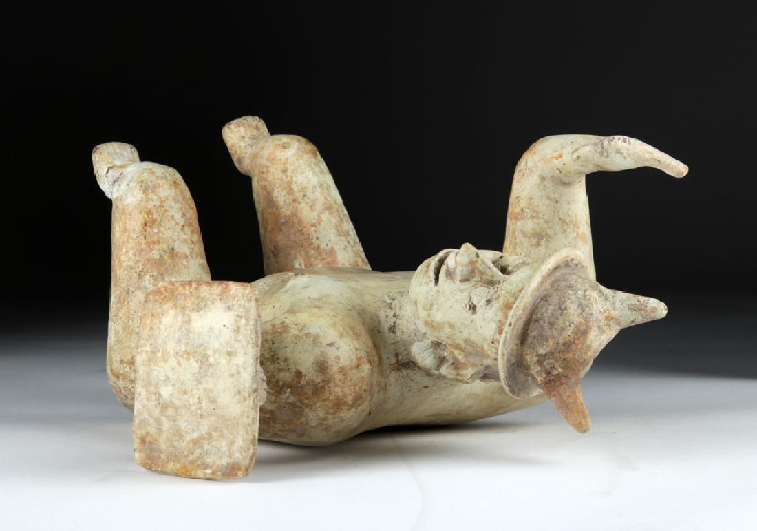Jalisco Pottery Warrior Figure w/ White Kaolin Pigment - 6