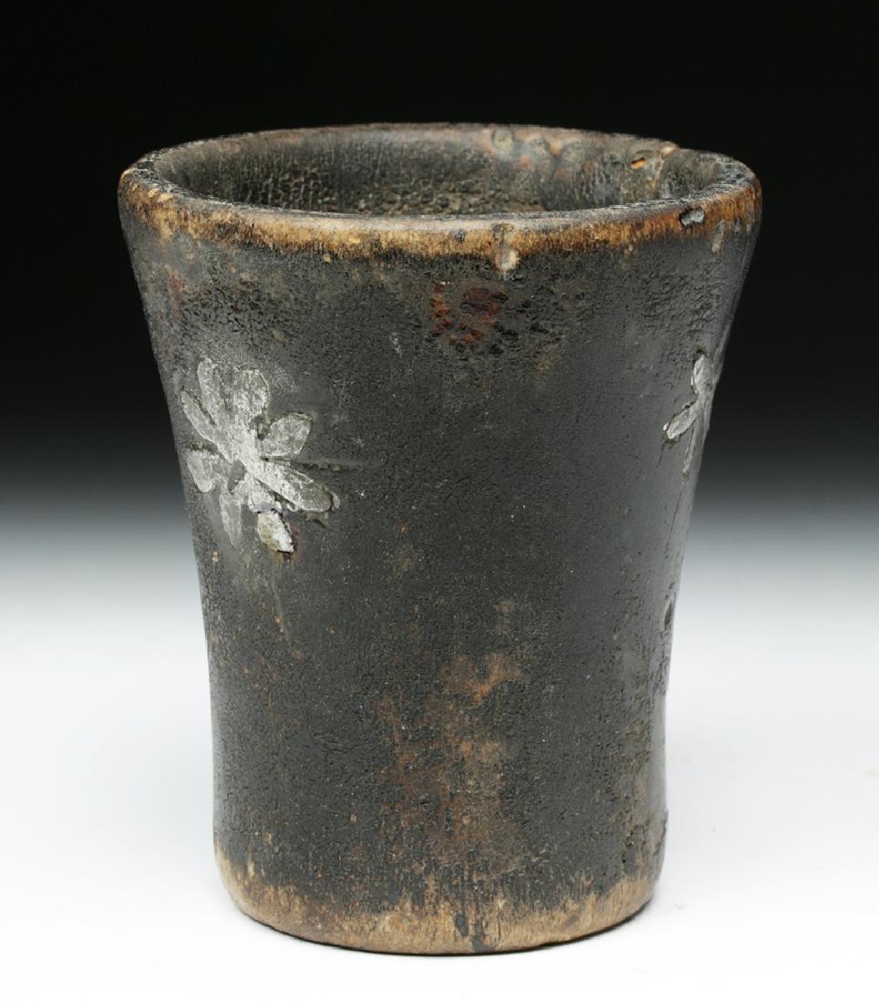 Rare Inca Wooden Kero w/ Silver Inlays - 2