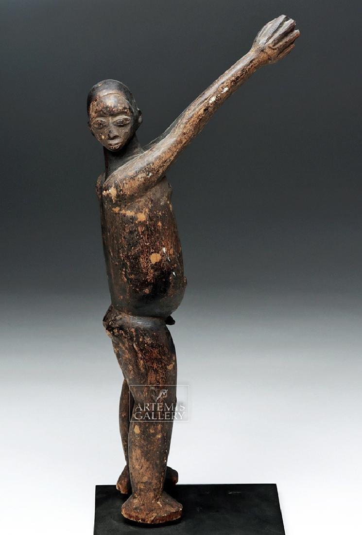 Early 20th C. African Lobi Carved Wooden Bateba Figure