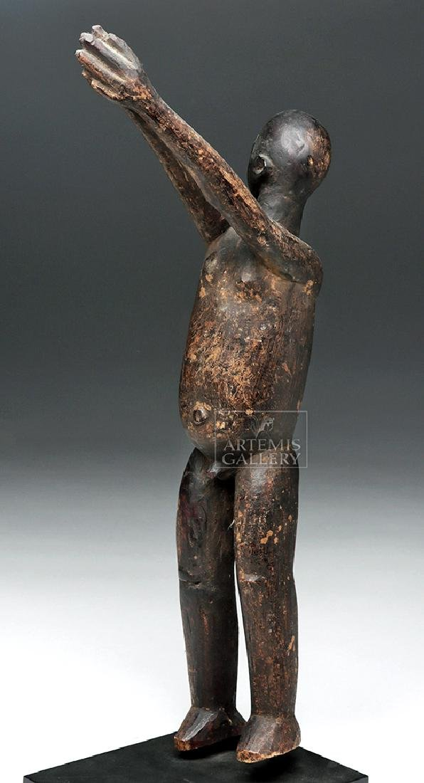 Early 20th C. African Lobi Carved Wooden Bateba Figure - 3
