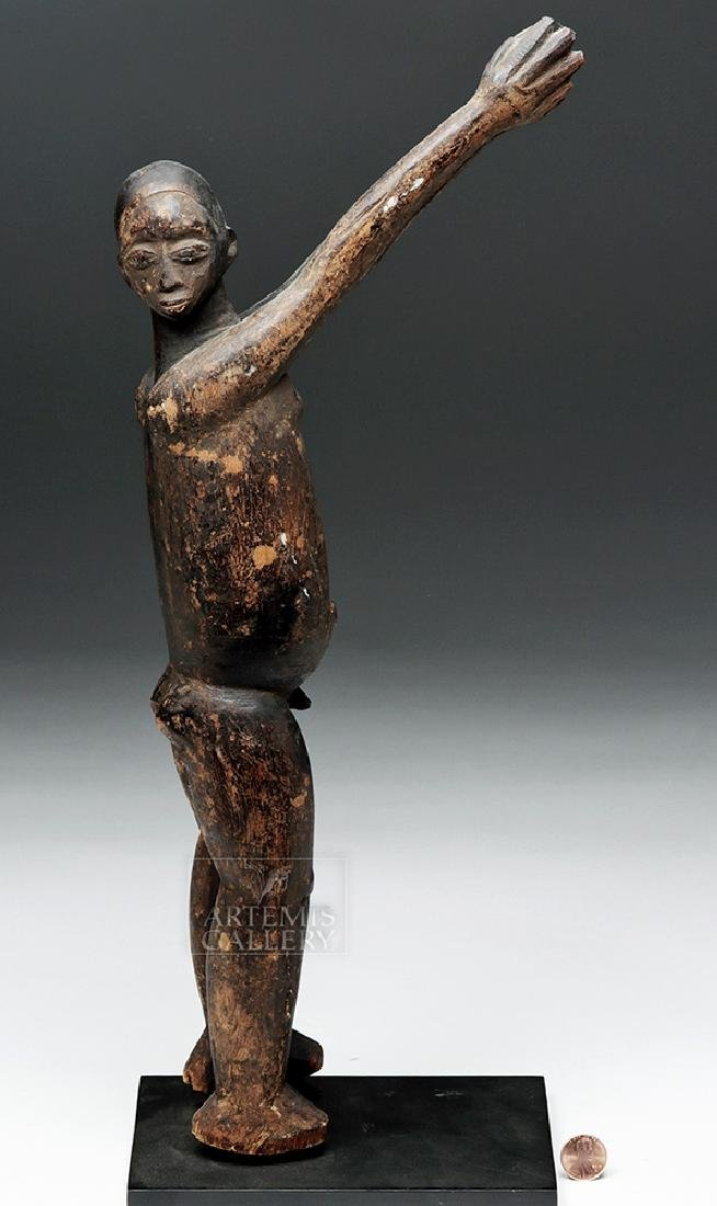 Early 20th C. African Lobi Carved Wooden Bateba Figure - 6