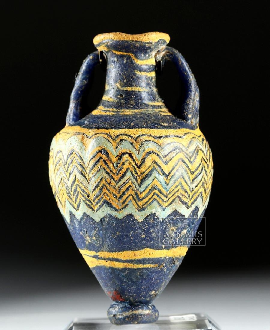 Ancient Greek Core-Form Glass Amphoriskos