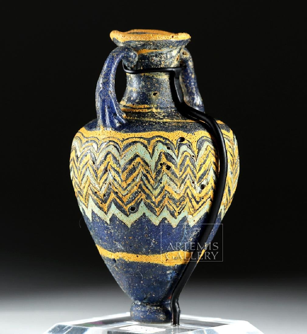 Ancient Greek Core-Form Glass Amphoriskos - 4