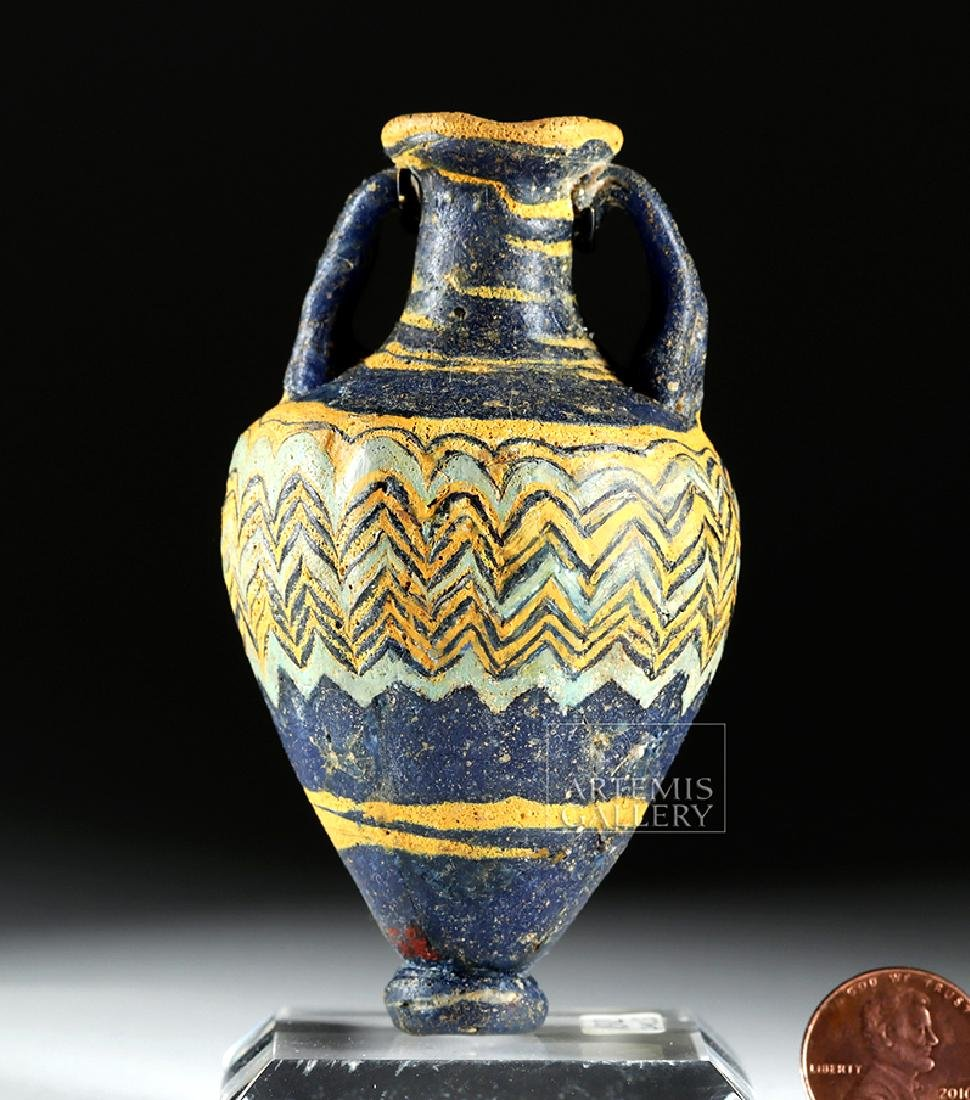 Ancient Greek Core-Form Glass Amphoriskos - 6