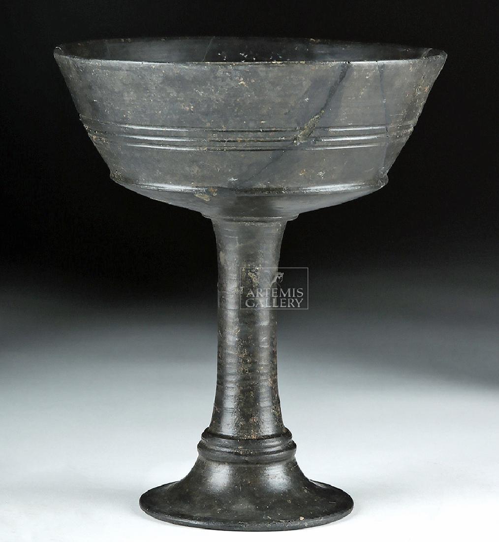 Etruscan Bucchero Pottery Long Stem Chalice