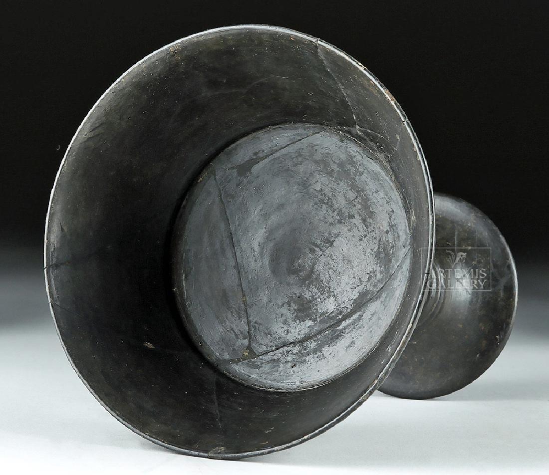 Etruscan Bucchero Pottery Long Stem Chalice - 6