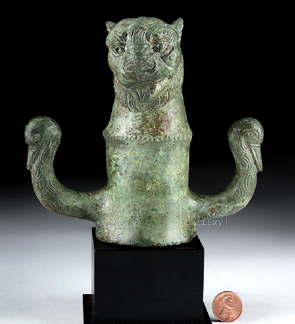 Bronze Roman Chariot Mount - Leopard and Swans - 2