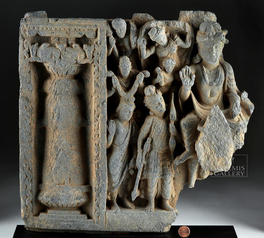 2nd C. Gandharan Schist Frieze - The Great Departure - 2