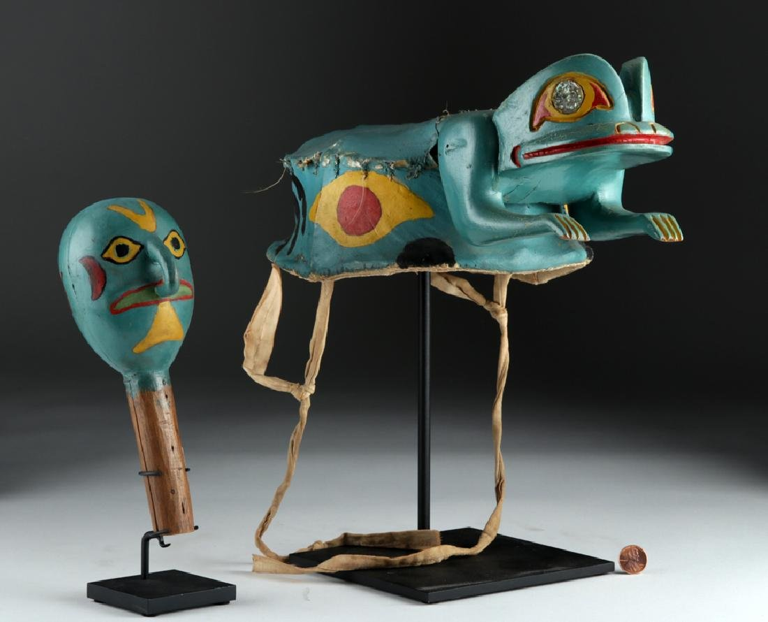 Exhibited Tlingit Wood/Hide Frog Hat & Rattle ca. 1910