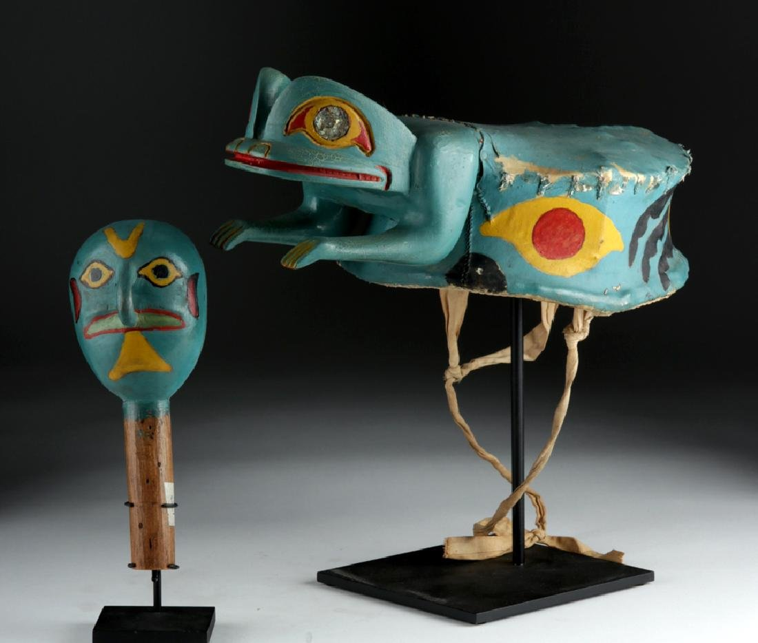 Exhibited Tlingit Wood/Hide Frog Hat & Rattle ca. 1910 - 5