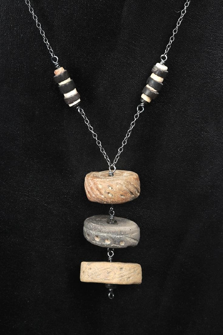Mayan Stone / Shell Beads + Spindle Whorls Necklace - 2