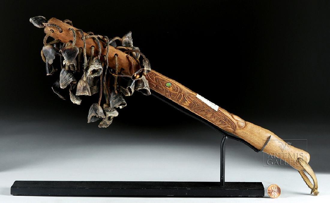 Early 20th C. Tlingit Wood, Shell, & Puffin Beak Rattle - 5