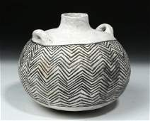 Prehistoric Anasazi Ceramic Black  White Canteen
