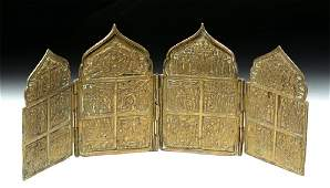 Fine Russian 19th C Brass 4Panel Traveling Icon
