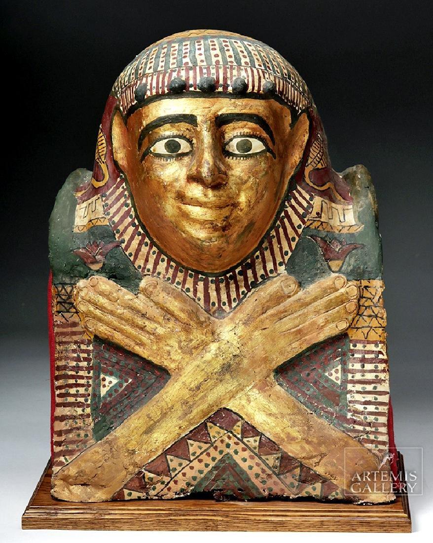 Egyptian Ptolemaic Gilded Child Sarcophagus Helmet Mask
