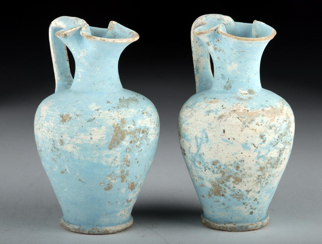 Pair Greek Canosan Pottery Trefoil Oinochoai - TL Test