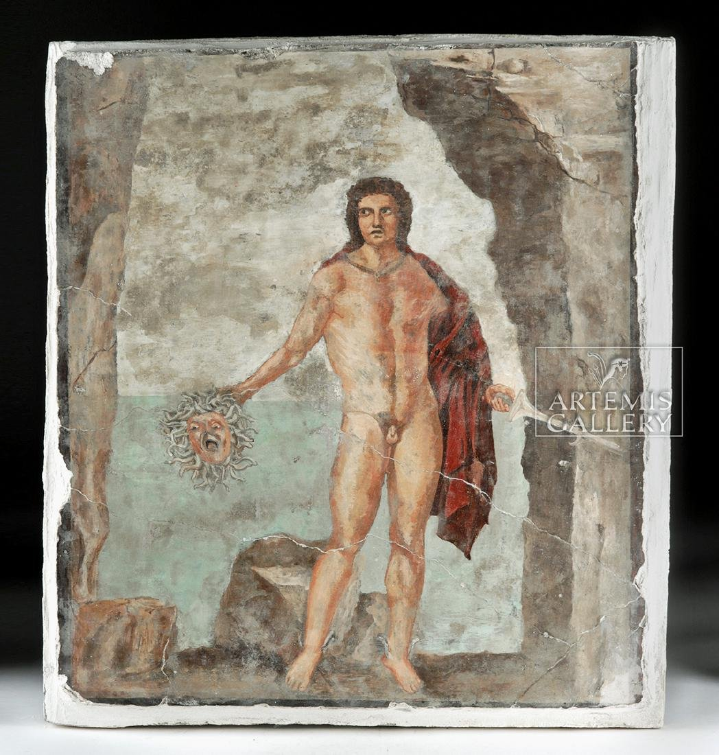 Roman Fresco Fragment Of Perseus W Medusa S Head