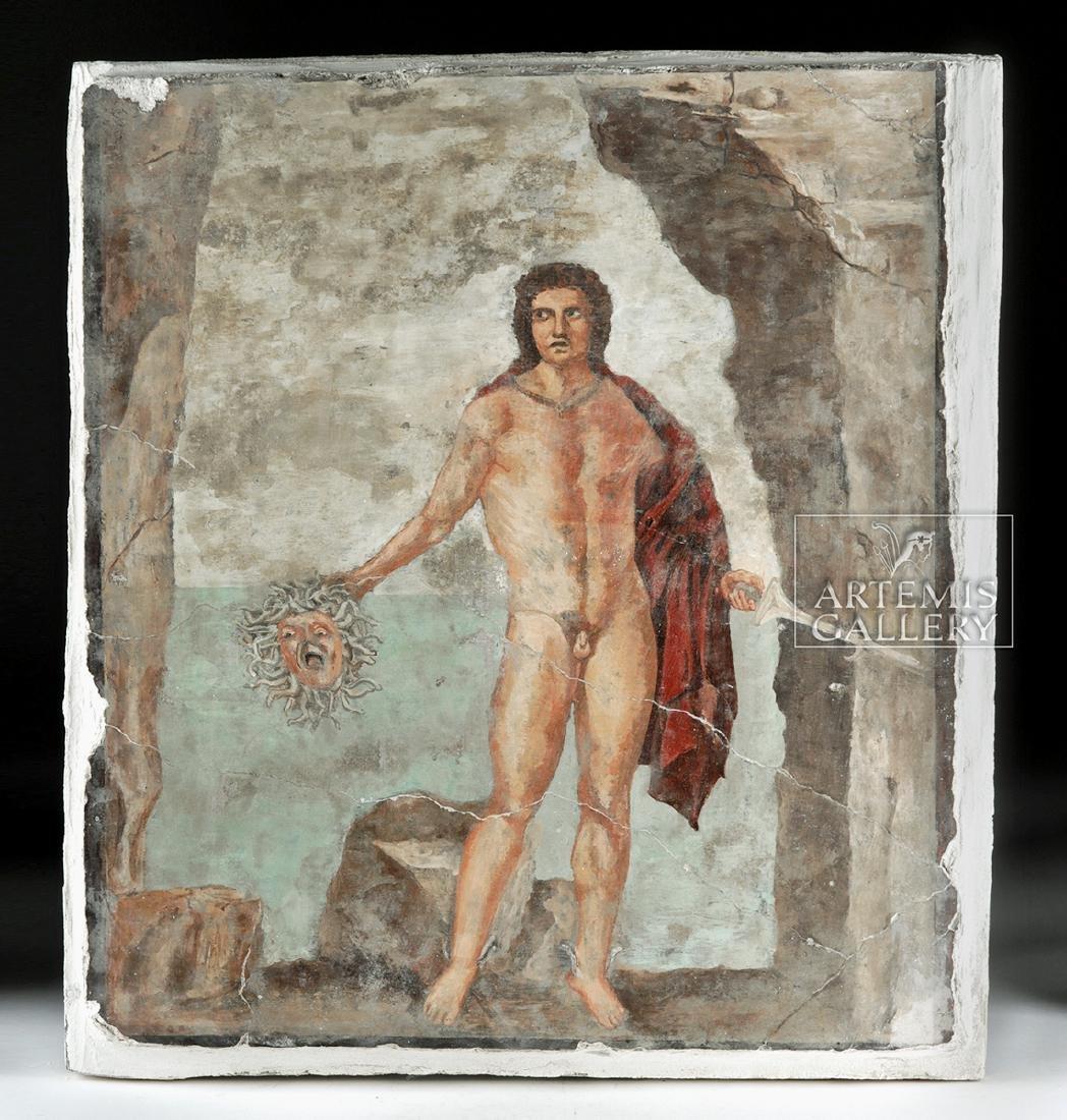 Roman Fresco Fragment of Perseus w/ Medusa's Head