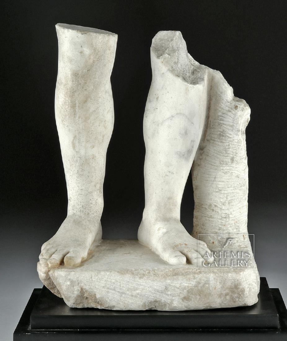 Roman Marble Section of Lower Legs, Feet of Male